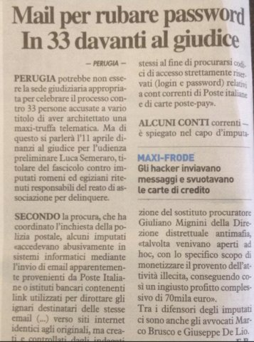 Mail per rubare password - Perugia